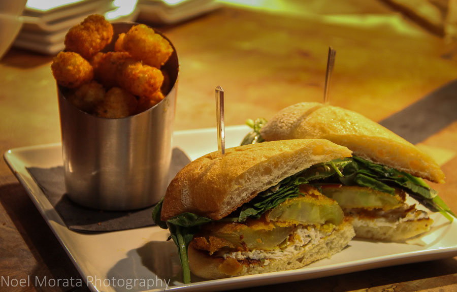 Fried Green tomato sandwich and tater tots