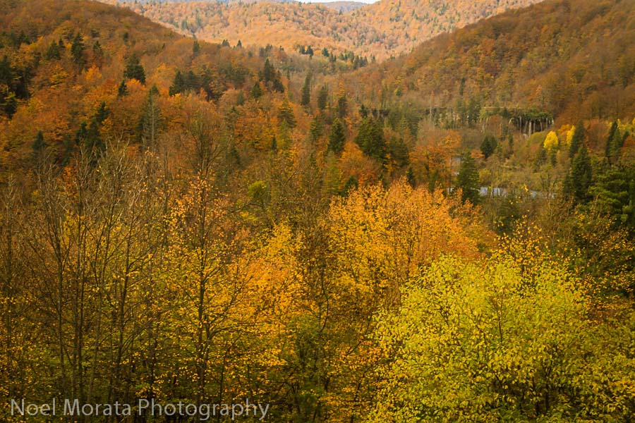 A panorama of Fall time in Plitvice National Park