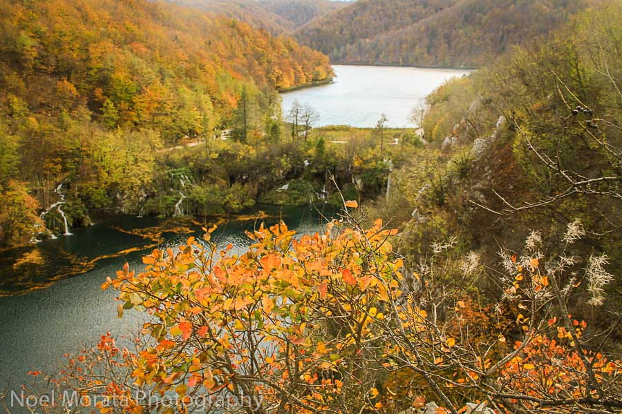 Panoramic view of the lower falls area at Plitvice