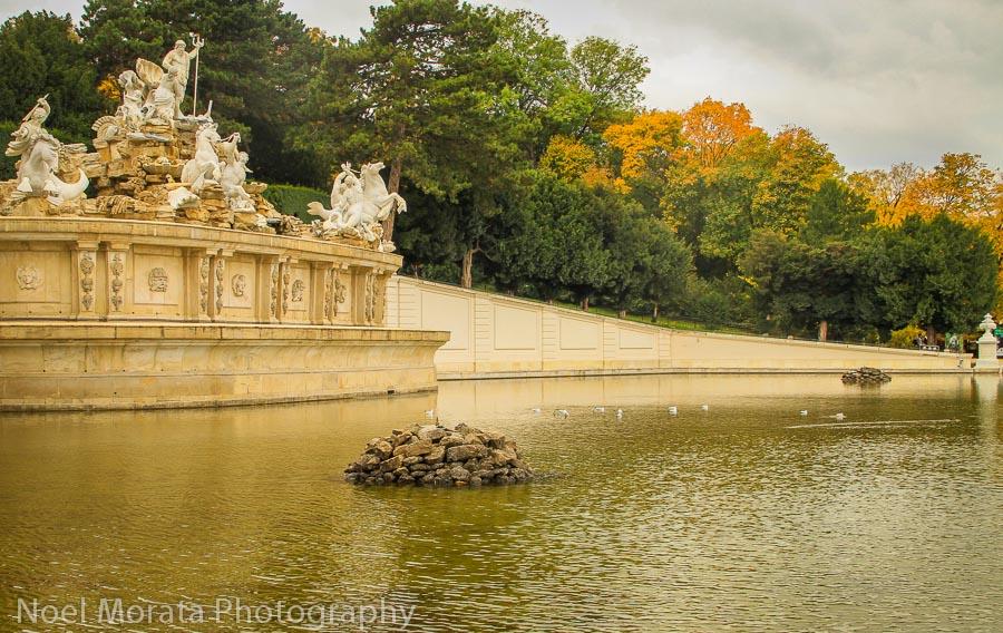The central fountains at Schonbrunn gardens