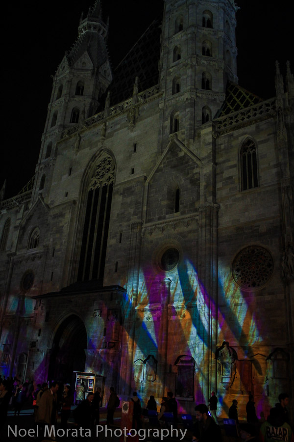 Colorful lights at St. Stephen's Cathedral in Vienna