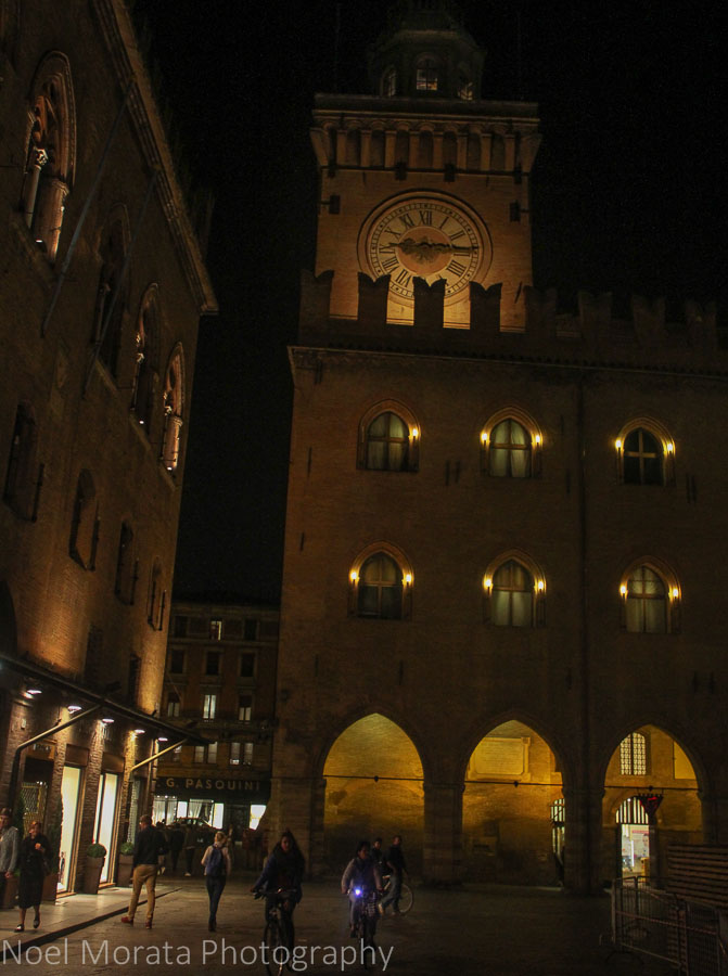 Piazza Maggiore at night in Bologna