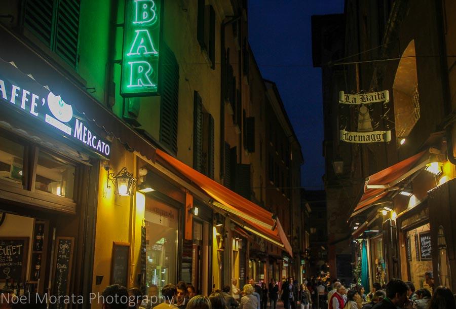 Evening at the Quadrilatero in Bologna