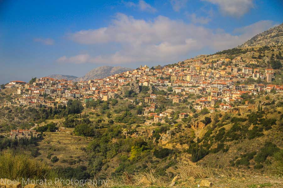 The scenic hilltop village of Aráchova on the slopes of Mt. Parnassus