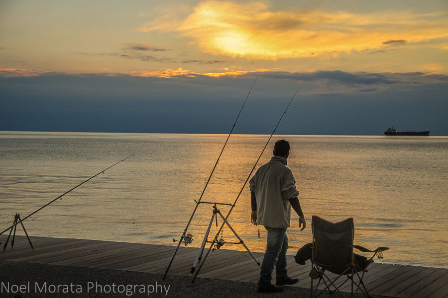 Fishing along the bay front in Thessaloniki