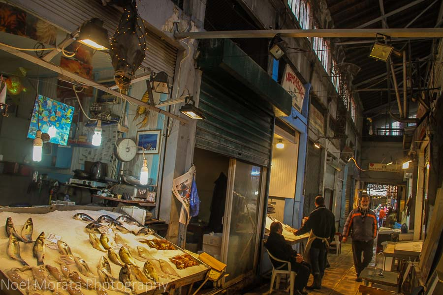 Fish vendor at Thessaloniki Modiano Market