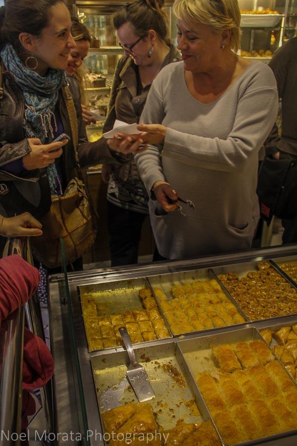 Sampling baklava at Elenidis pastry shop in Thessaloniki