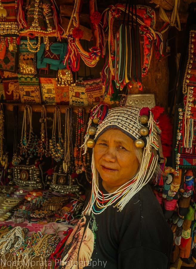 Selling handicrafts, Akha village tribe