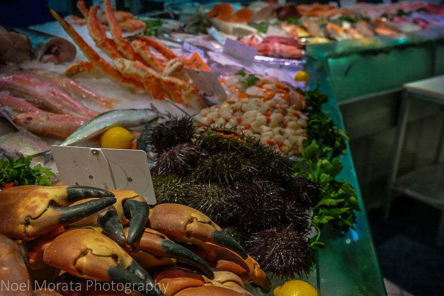 Seafood vendor at Les Marche St. Germain des Pres