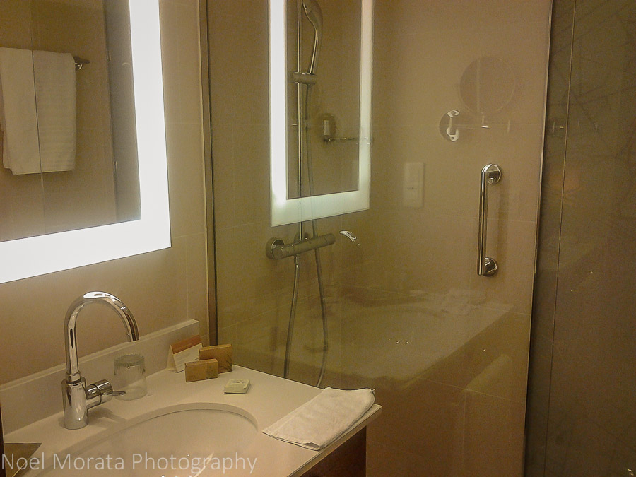 Modern bathroom with ultra luxe toiletries at the Movenpick