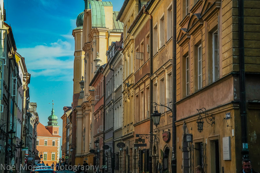 Colorful cobbled streets in Warsaw's old center