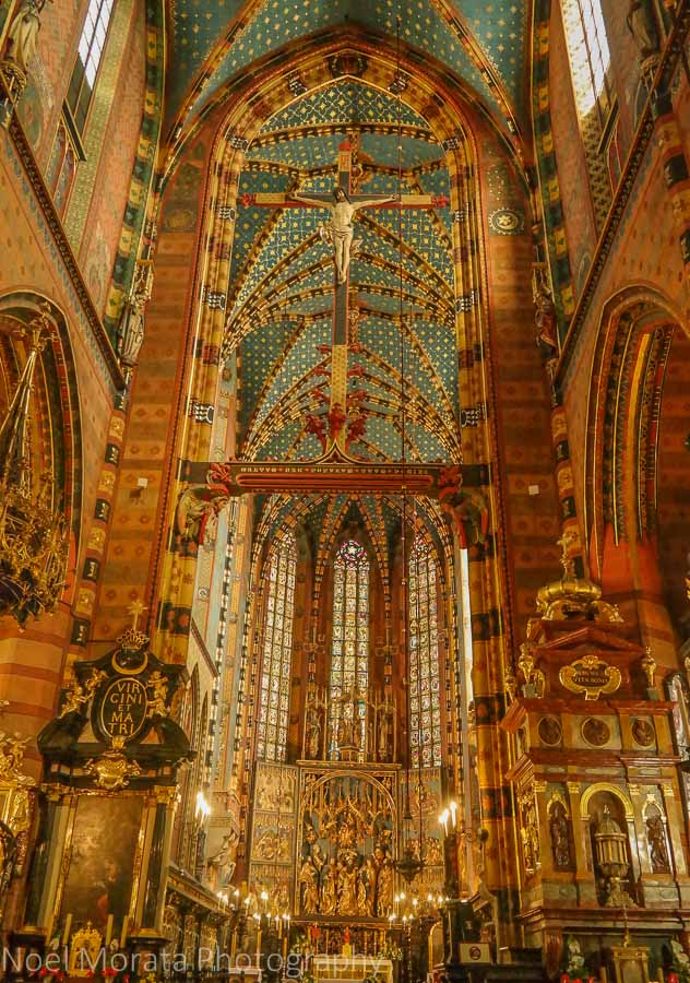 Interior details of St. Mar's basilica, Warsaw