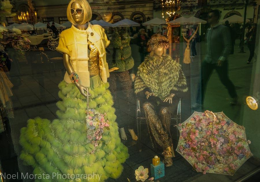 A wild  fur display at Rynek Glowny in Krakow