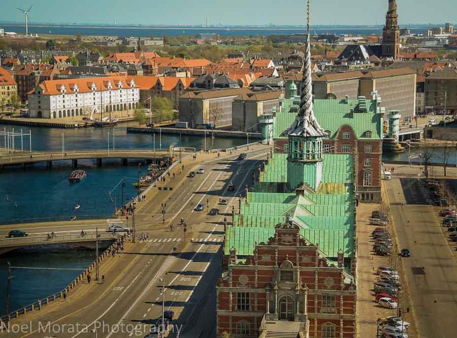 Views across to Christianshavn or Christiana town in Copenhagen