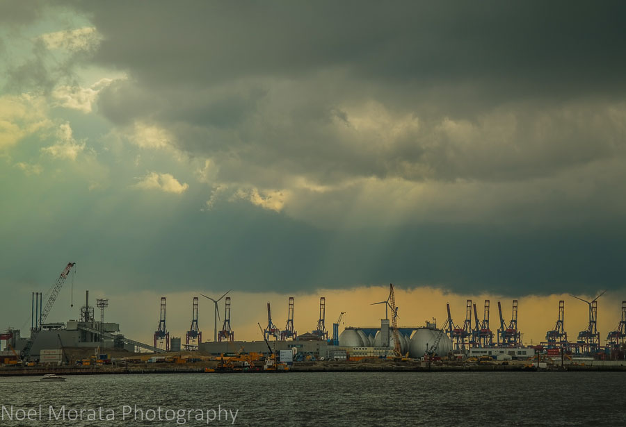 The container terminals at Hamburg's busy harbor