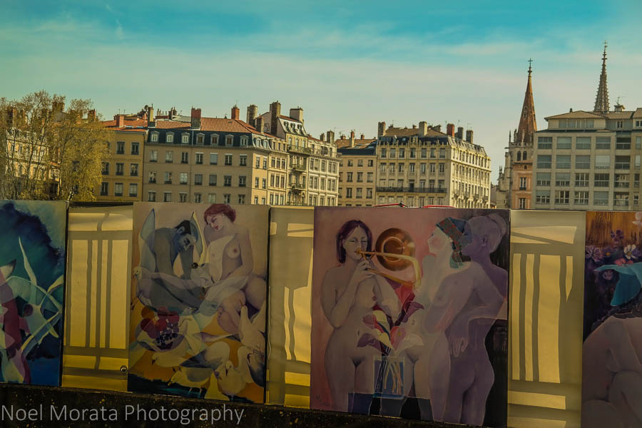 Art market along the Saone river in Lyon, France