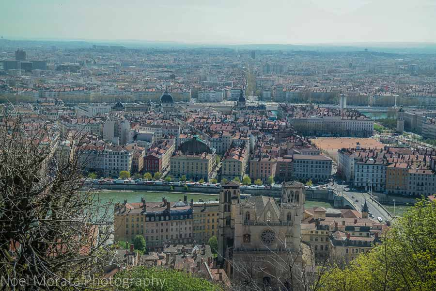 Panoramic view of central Lyon, outside the Basilica of Notre-Dame de Fourvière,
