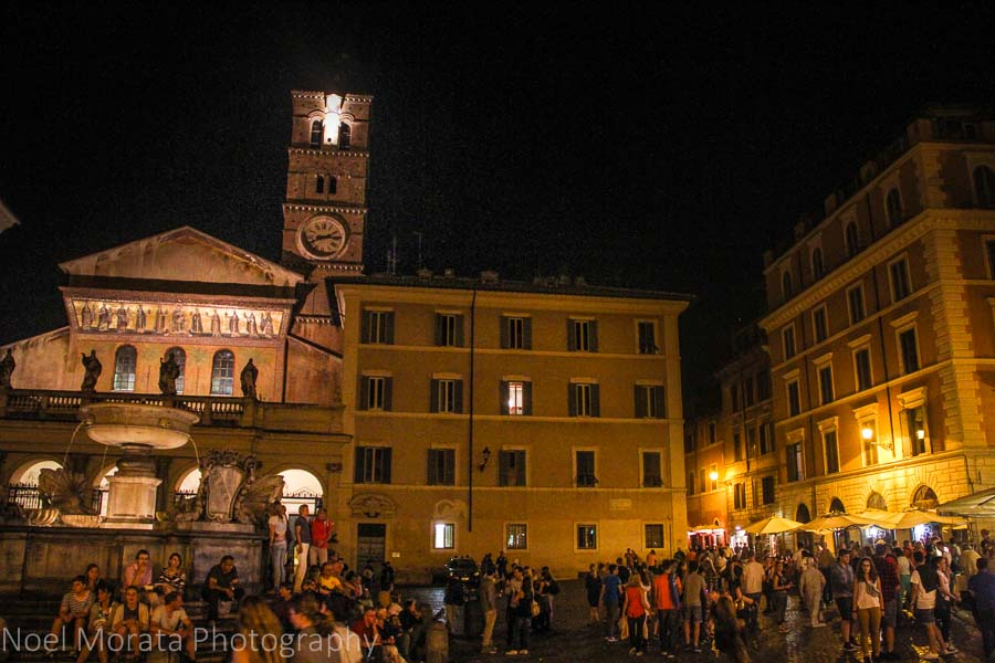 Trastevere and the main piazza at night time