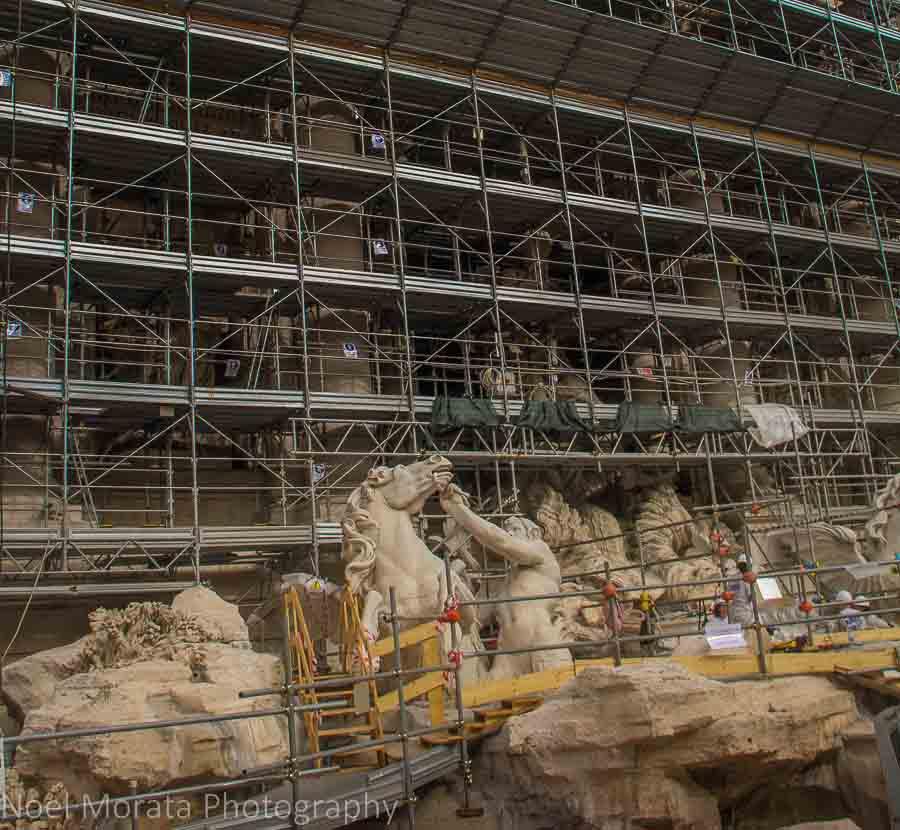 Trevi fountain reconstruction in Rome