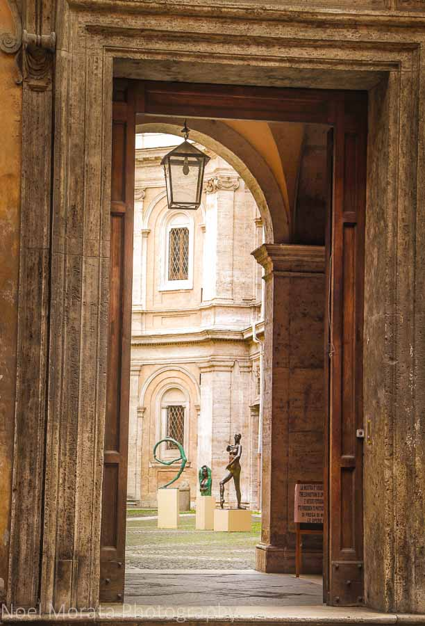 Hidden church and sculpture on the streets outside Campo Fiori, Rome