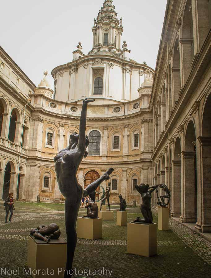 Beautiful sculpture and unknown basilica around the Campo Fiori, Rome