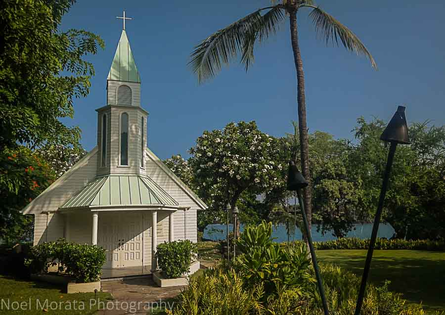 Simple white chapel at Sheraton Kona - Visiting Keauhou on the Big Island