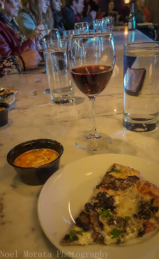 Delicious seafood soup and pizza at Figlio and VIno Vino - Columbus food tour
