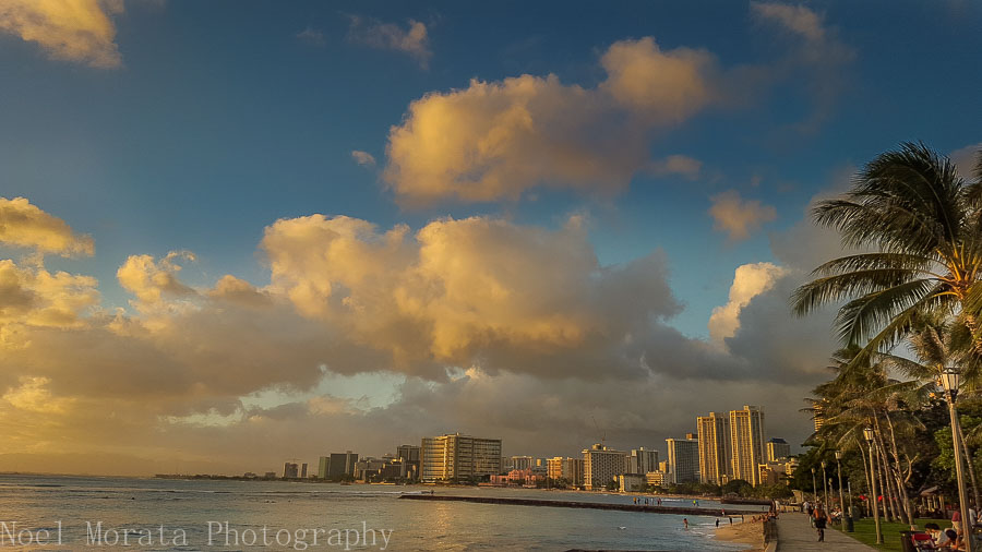 Walking around Waikiki beach with skyline views