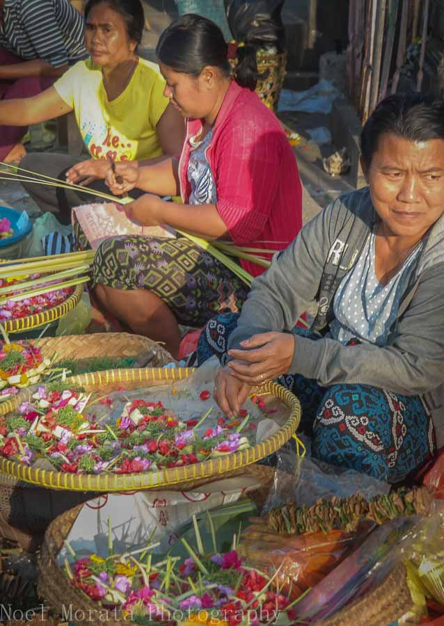Flower vendors at a local market in Tabanan, Bali - Markets in Bali