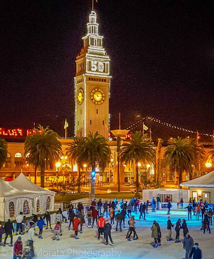 Ice skating at Embarcadero Plaza - Christmas in San Francisco