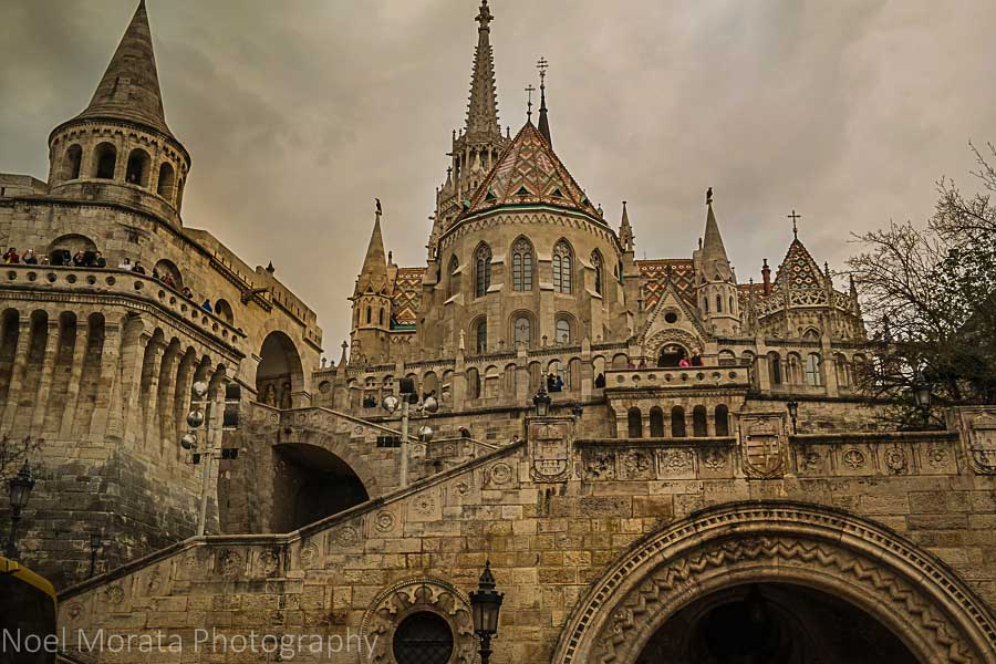 Looking up to Matthias church and Fisherman's Bastion Budapest