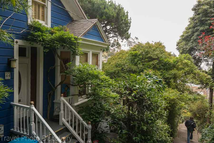 Colorful homes at the Vulcan Stairs in San Francisco