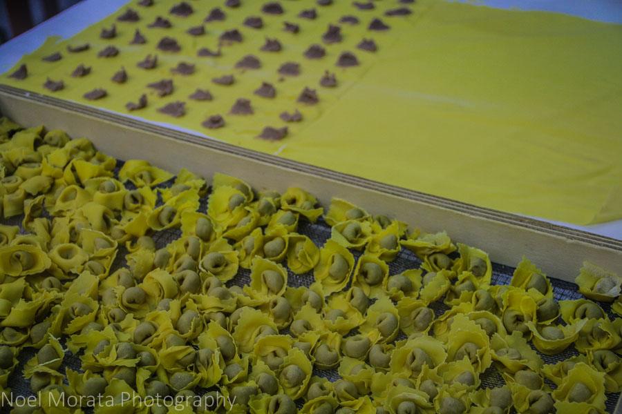 Fresh pasta at Il re del tortellino shop at Valeggio, Italy