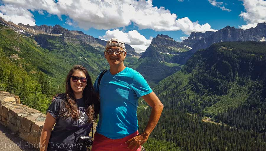 Selfies and view at Glacier National Park