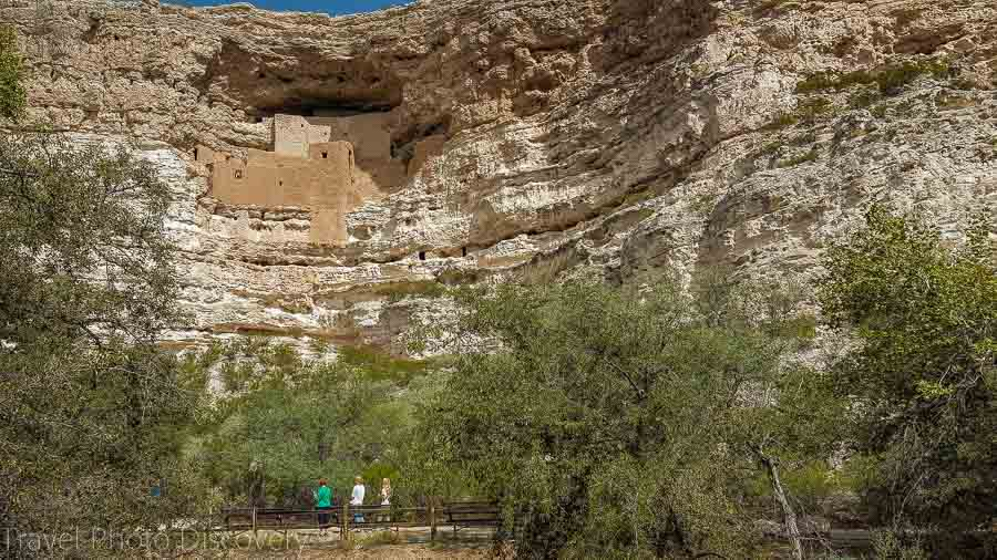 Exploring the Montezuma Indian cliff dwellings from a distance