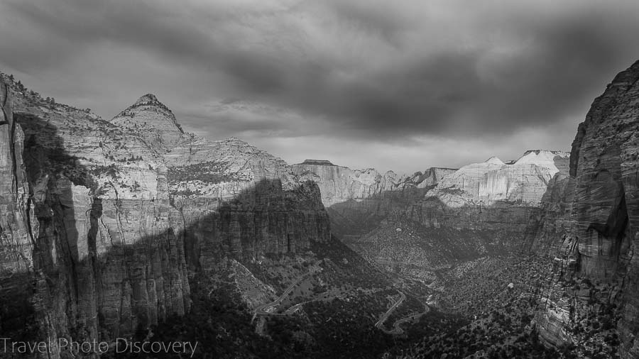 Overlook canyon views Zion National Park Utah