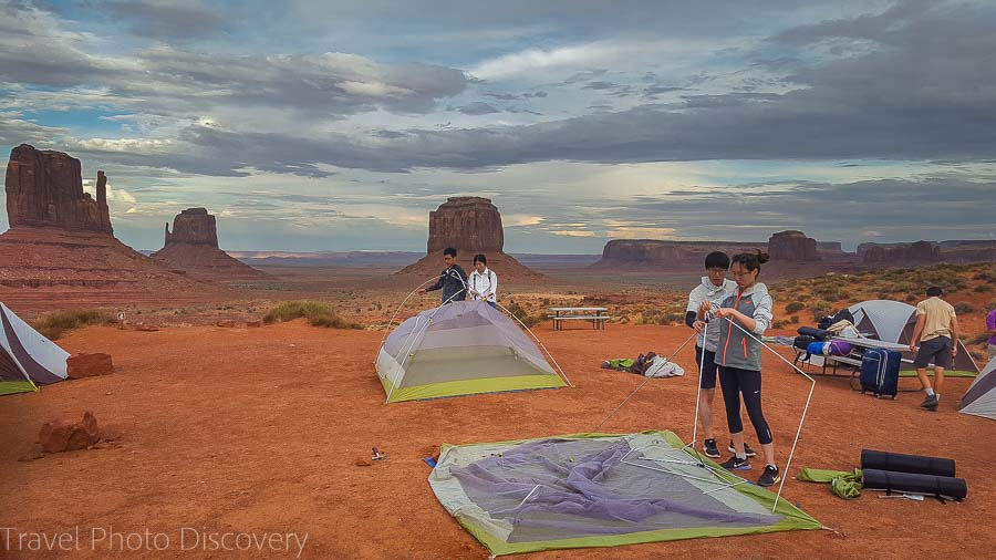 Taking down the campsite at Monument Valley Navajo tribal park