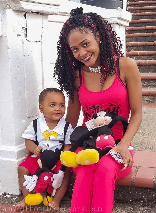 Mother and child at Casco Viejo Visiting Panama City's Unesco site Casco Viejo