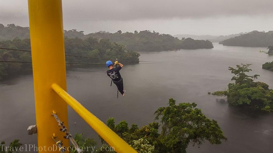 Zip line adventure over Gatun Lake in Panama
