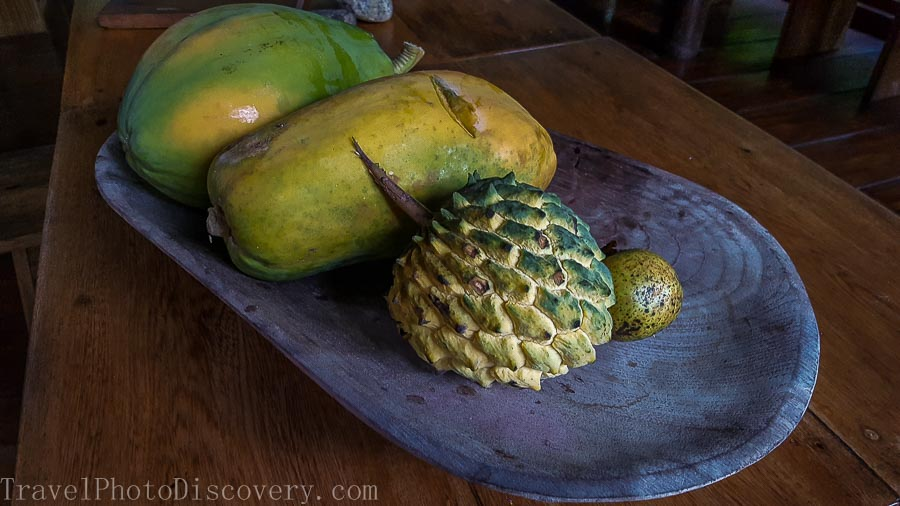 Tasting tropical fruit at La Loma in Bastimentos Panama