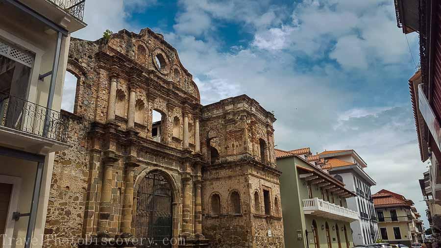 The façade and ruins of Iglesia de la Compania de Jesús at Casco Viejo Panama City