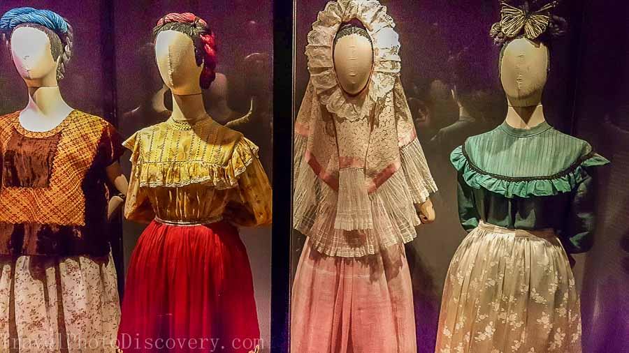 Frida Kahlo's wardrobe displays at Frida Kahlo Museum