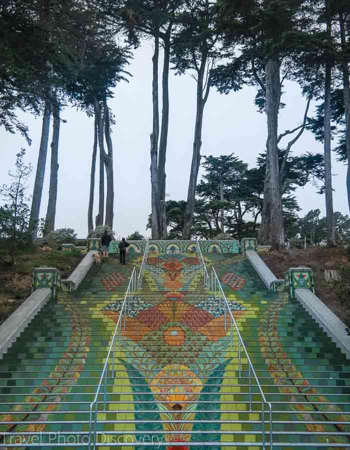 Romantic getaways around the world at San Francisco mosaic stairs at California street