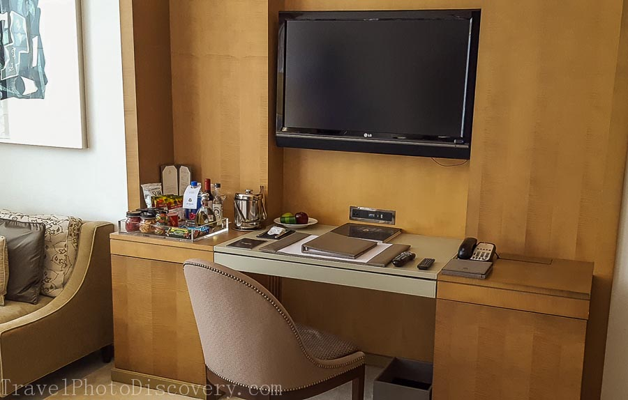 Bedroom desk area at the St. Regis Hotel Mexico City
