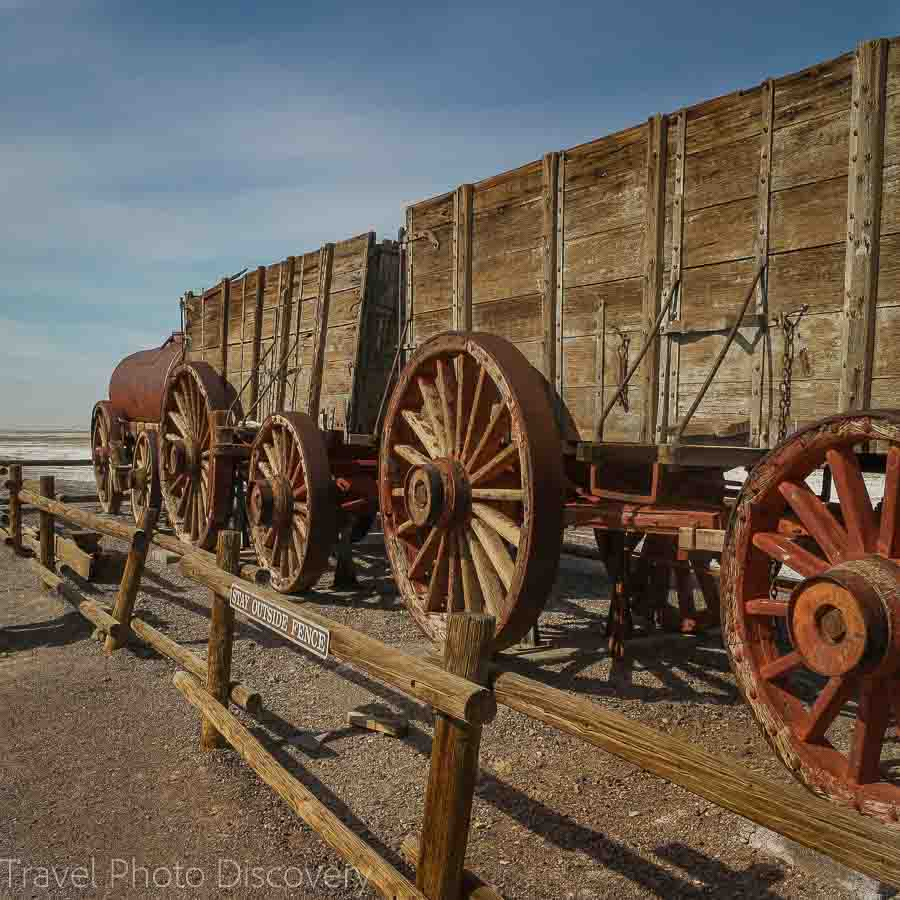 Relic wagons at the Borax works Death Valley National Park