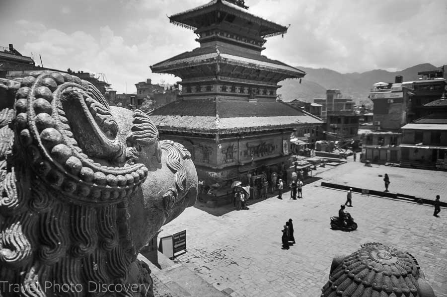 Bhaktapur temples Nepal photography in black and white