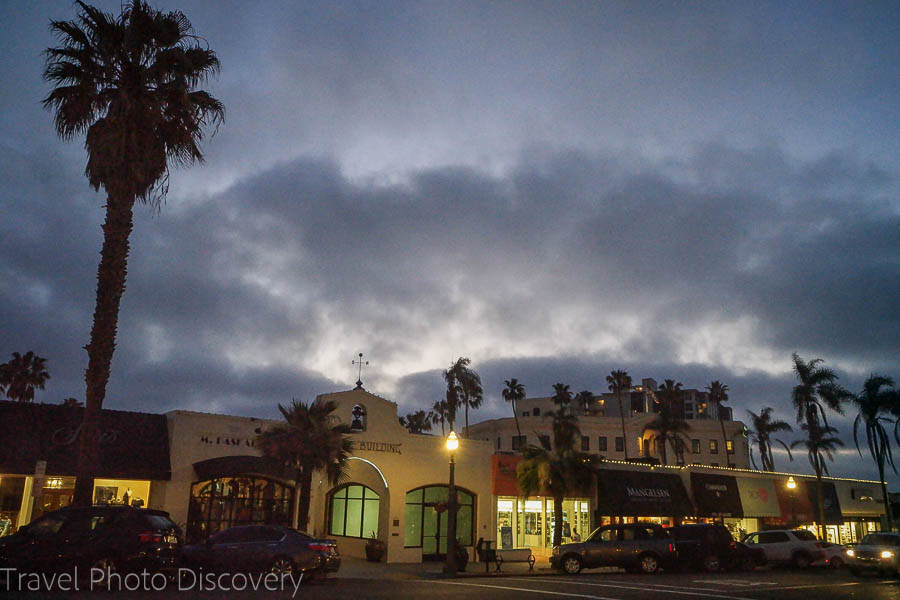 La Jolla shopping in the village at night time
