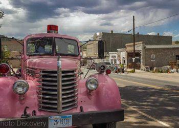 A pink fire truck exploring Virginia City