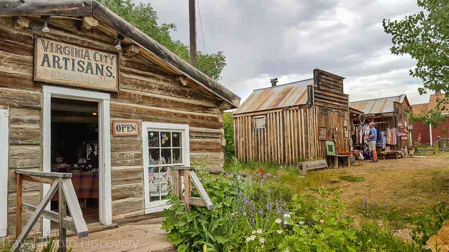 Small shotgun shacks turned into stores at Virginia City Montana