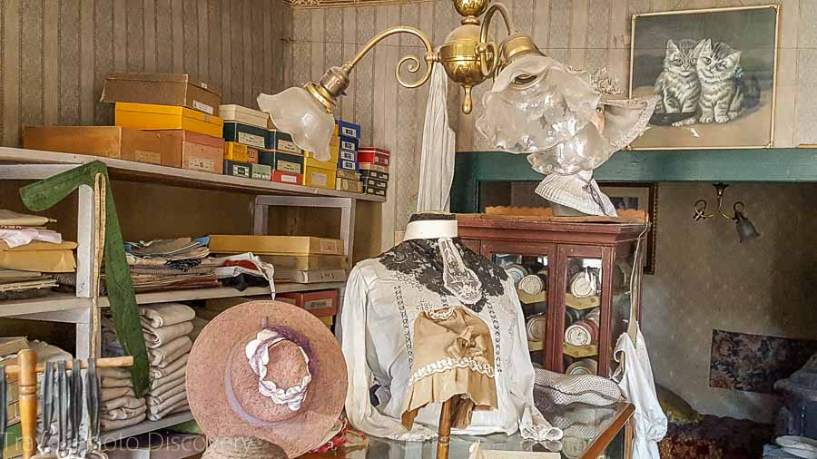 An old time fashion millinery store in Virginia City Montana